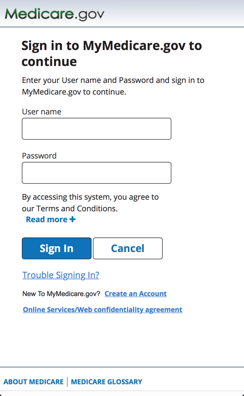 MyMedicare beneficiary Sign-in screen